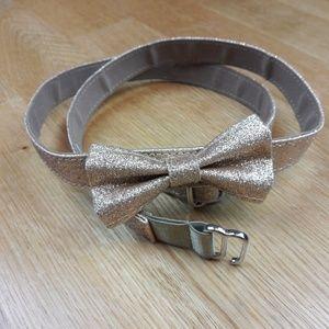 Land's End Golden Shimer Girl Bow Belt L/XL